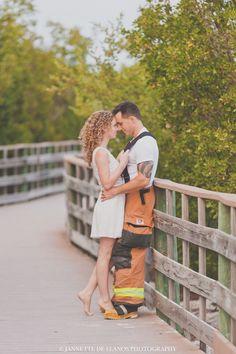 firefighter engagement photos - fireman - beach - Islamorada - Florida
