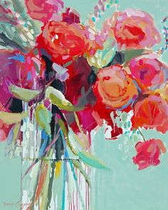 Start with a bold piece of artwork that inspires your redecorating palette. Here is a beautiful still life painting - paintings by erin fitzhugh gregory. Art Floral, Art Amour, Paintings I Love, Floral Paintings, Paintings Of Flowers, Flowers In Vase Painting, Paint Flowers, Beautiful Paintings, Diy Flowers
