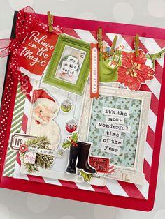 Christmas Mini Albums, Christmas Scrapbook, Christmas Minis, Vintage Christmas, May Arts, Mini Album Tutorial, Red Envelope, Believe In Magic, Simple Stories