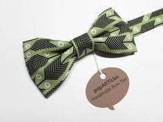 Green Arrow Bow Tie Handmade with Apple Green & Brown Cotton - Men's Pre-Tied Bow Tie  - 10% off with promo code PIN10 - #popARTicles #arrowbowtie #olivebowtie