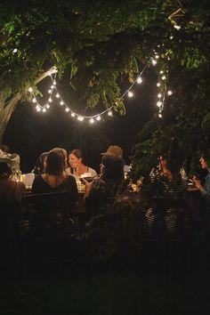 Bulb light chains for outdoors never get old! #Lighting #Garden #Dinner