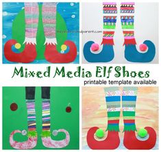 Mixed media elf shoes with printable template for your convenience. - Use paint, paper, newspaper, markers or watercolors to create these fun and colorful elf shoes. Winter and Christmas arts and crafts. Christmas Arts And Crafts, Arts And Crafts House, Holiday Crafts, Holiday Ideas, Christmas Ideas, Christmas Journal, Christmas Program, Preschool Christmas, Christmas Things