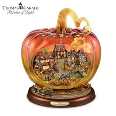 A must for Fall. Thomas Kinkade Art Glass Pumpkin Reflections Of A Harvest Season Tabletop Centerpiece