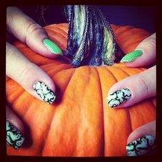 Fall + Goofy ghosts nail wraps +pumpkin = October fun! Get yours at: www.perfectcolor.jamberrynails.net