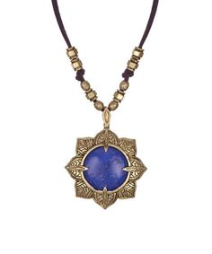 Loving this Blue & Goldtone Rosette Pendant Necklace on #zulily! #zulilyfinds