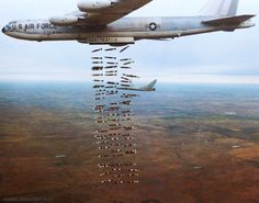 [Boeing Stratofortress, dropping bombs in rapid succession]; Boeing Aircraft, Fighter Aircraft, Fighter Jets, Us Military Aircraft, Military Weapons, Aigle Animal, Air Force Bomber, B 52 Stratofortress, Strategic Air Command