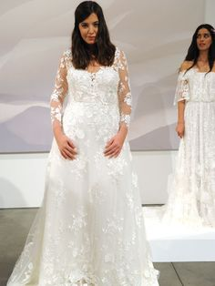 Atelier Pronovias 2019 Bridal Collection: A-line Wedding Dress With Illusion Long Sleeves And Lace Embroidery Pronovias Wedding Dress, Sexy Wedding Dresses, Wedding Dress Styles, Bridal Dresses, Bridal Collection, Dress Collection, Plus Size Brides, Traditional Wedding Dresses, Bridal Fashion Week