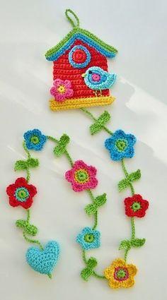 Watch The Video Splendid Crochet a Puff Flower Ideas. Phenomenal Crochet a Puff Flower Ideas. Crochet Bunting, Crochet Garland, Crochet Birds, Crochet Decoration, Love Crochet, Crochet Motif, Beautiful Crochet, Crochet Flowers, Crochet Patterns