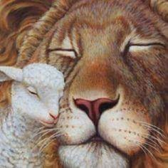 Lion and the Lamb nuzzling.