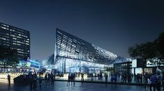NBBJ Unveils $310 Million Renovation for Kentucky's Rupp Arena,View from Main St. . Image © NBBJ + EOP + SCAPE