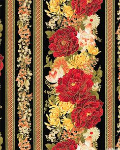 Imperial Garden - Flowers for the Empress Stripe - Black/Gold