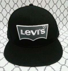 3491a593f7d MEN S RETRO LEVIS STRAUSS JEANS 501 BLACK AND WHITE FLAT BRIM SNAPBACK HAT    CAP  LEVISSTRAUSS  BallCap