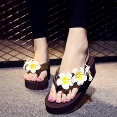Beach flower fashion wedges love flip flops sandals