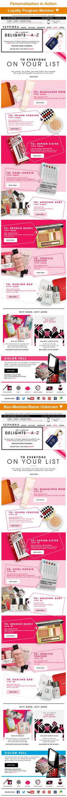 """Sephora >> sent 12/8/14 >> Amaze Them >> This Sephora email cleverly combines gift-recipient personas and first-name personalization by creating gift tags, which have the persona in the """"To"""" line and my name in the """"From"""" line. The tactic helps the subscriber envision themselves giving the gift. Plus, Sephora wisely uses """"Me"""" as the fallback when they don't know the subscriber's name so it doesn't ruin the gift tag setup. —Amanda Miller, Senior Marketing Consultant, Salesforce Marketing…"""