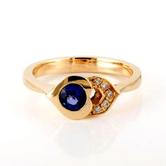 yellow gold blue sapphire and diamond ring by Aimee Winstone Designer Engagement Rings, Gold Engagement Rings, Blue Sapphire, Designers, Silver Rings, Yellow, Diamond, Jewelry, Rings