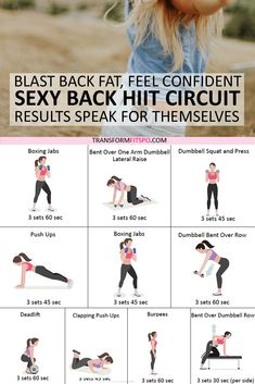Get rid of your lower back fat. 8 exercises to get rid of lower back fat for women. This exercise group helps to work out your back whilst giving your abs a tough time. This hits your who Fitness Workouts, At Home Workouts, Fitness Motivation, Cardio Workouts, Arm Circuit Workout, Back Workout At Home, Cardio Yoga, Extreme Workouts, Quick Weight Loss Tips