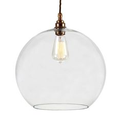Manufactured in Ireland this classic glass sphere fitting looks fantastic when lit with an edison squirrel cage bulb.