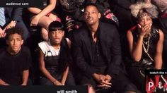 Smith family watching Miley Cyrus' performance at the VMAs. hahaaaa
