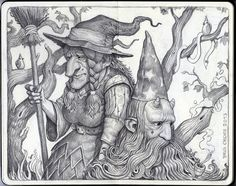 "Brun Croes  ""The Witch And The Wizard"" Graphite Pencil on moleskine"