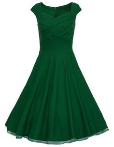Vintage Sweetheart Neck Pure Color Sleeveless Dress For Women Vintage Dresses | RoseGal.com Mobile
