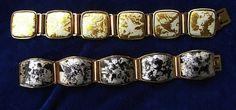 Armbänder Email mit teilweise abgeschliffener Gold- bzw. Silberfolie