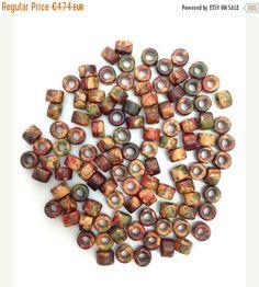 100 Keramik Zylinder, braun gesprenkelt, 6mm, 100 Stück, ceramic beads, greek beads, Keramikperlen, tube beads, pattern beads, spacer beads