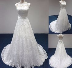 Simple White/Ivory Lace Sheer Neck Wedding Dresses A Line Lace-up Bridal Gowns