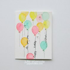Cotton Candy Balloons… Video for No-line watercoloring  #essentialsbyellen #kuretakezig_usa