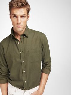 SLIM FIT GREEN SHIRT WITH ELBOW PATCH DETAIL Ανδρική Μόδα 8c721169b3a
