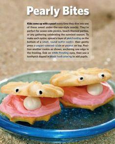 pearls of wisdom Snack Ocean Snacks, Ocean Food, Beach Snacks, Kid Snacks, Sunday School Snacks, Sunday School Crafts, Clam Shell Cookies, Animal Snacks, Pearl Crafts