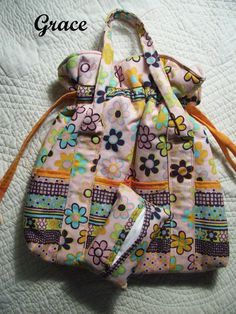 Pink Floral Drawstring Purse with  Pockets and ♥ by BagsBeadsandMore, $33.00