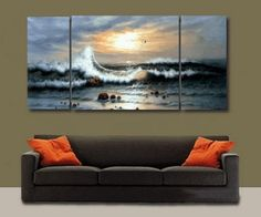 3 Pics Paciffic Ocean Big Wave Seascape Large Modern Art 100% Hand Painted Oil Painting on Canvas Wall Art Deco Home Decoration (Unstretch No Frame) by galleryworldwide, http://www.amazon.com/dp/B0093Y949W/ref=cm_sw_r_pi_dp_7tdUrb00TPE8E