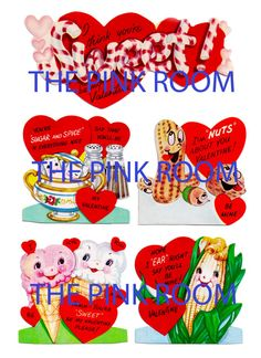 Vintage Valentine Cards, Yummy Candy Food Digital Collage Sheet, Instant Digital Download YOURS NOW
