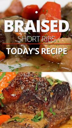 Mar 2020 - This beef short ribs recipe features succulent braised beef and tender vegetables simmered in white wine and herb sauce. Make this recipe for a memorable dinner! Short Rib Recipes Crockpot, Braised Beef Short Ribs Recipe, Boneless Beef Short Ribs, Beef Recipes For Dinner, Slow Cooker Recipes, Cooking Recipes, Braised Recipe, Recipe For Beef Ribs, How To Braise Beef