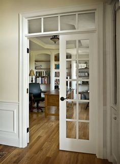 We are considering doors like these for our music room off the entry way. This pic shows an upper transom window. We would have two sidelight windows as well. Still trying to decide if it would close that space off too much. Love the look though!