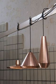 Copper lampshades.
