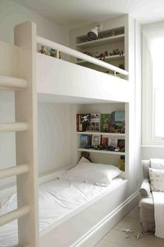 Love this built in bunkbed with bookshelf. Children's Rooms: The Family at Home by Anita Kaushal : Remodelista