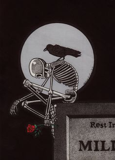 A Little Sad Skeleton 5x7 Ink Drawing.