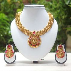 Latest Ruby & Green Colour Temple Coin Necklace Set