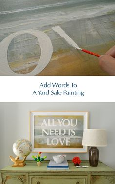 Add words to a yard sale painting