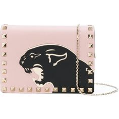 Valentino Rockstud Pouch With Chain and Panther's Print ($1,040) ❤ liked on Polyvore featuring bags, pink, coin pouch, valentino crossbody, chain strap crossbody, chain bags and chain shoulder bag