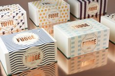 Fortnum & Mason Fudge packaging by Design Bridge, with letterpress by JMG studio