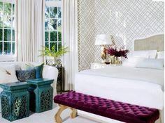 Turquoise Aqua bedroom interior design - decor - - bedroom design - interiors modern-chic-white-beige-purple-turquoise-bedroom - Moroccan Chinese stools via thelennoxx Home Bedroom, Bedroom Decor, Bedroom Benches, Bedroom Ideas, Master Bedroom, Plum Bedroom, Bedroom Colours, Budget Bedroom, Pretty Bedroom