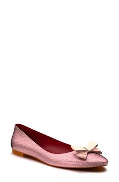 Shoes of Prey Glitter Bow Ballet Flat (Women) available at #Nordstrom