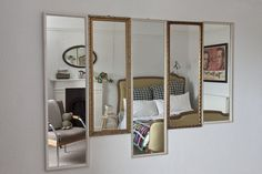 Tudo igual, mas diferente e tudo junto e misturado num arranjo lindo e original de espelhos #espelhos #achadosdedecoração