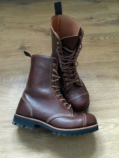 William Lennon modified 78TC with white stitching, 10 eyelets, brass details and Vibram sole