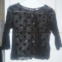 Black polka dot midsleeve Perfect condition, see through. Tops Blouses