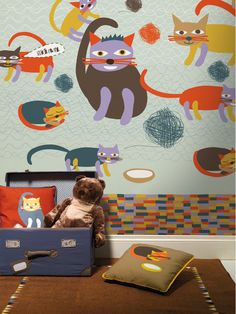 lavmi, miau blue, murals, wallpapers, wallpap mural, blues