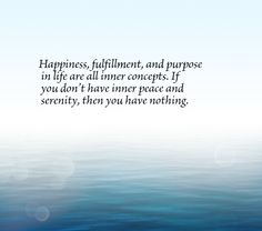 Happiness, fulfillment, and purpose in life are all inner concepts. If you don't have inner peace and serenity, then you have nothing.