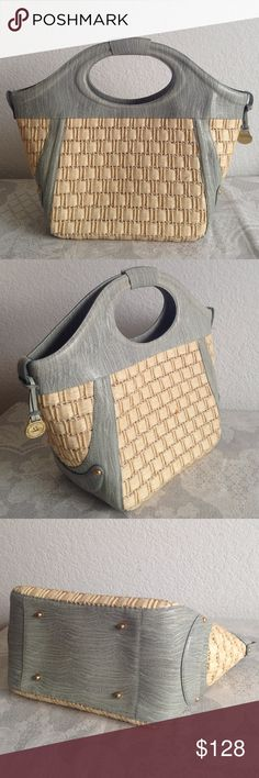 """Brahmin straw bag Great condition. Marks from original condition Measurement approximately : bottoms length 11.5""""- top 18.5"""" height 12"""" -15"""" width 6.5"""".  It's big size. Authentic. NO trade!! Please don't ask!!!!! Brahmin Bags Totes"""